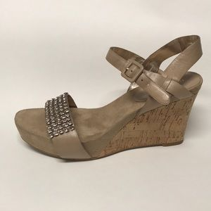 Nine West Tan wedges sandals with stones details